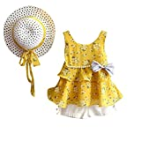Anxinke Toddlers Kids Girls Chiffon Vest Flouncy Hem Tank Tops with Bowknot + Shorts + Sun Hat Outfit (Yellow, Size:2T)