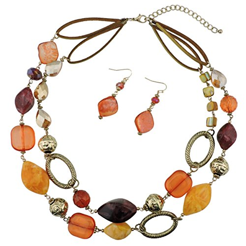 Bocar 2 Strand Statement Choker Shell Necklace and Earring Set for Women Gift -