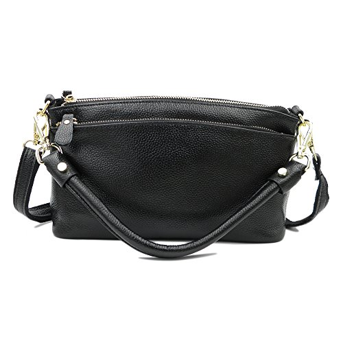Top Black Zip Purse (ATUPEIY Women's Multi Pocket Genuine Leather Shoulder Crossbody Bag purse Top Handle Handbag (Black))