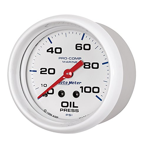 (AutoMeter 200777 Marine Mechanical Oil Pressure Gauge 2-5/8 in. White Dial Face Fluorescent Red Pointer White Incandescent Lighting Mechanical 0-100 PSI Marine Mechanical Oil Pressure Gauge)