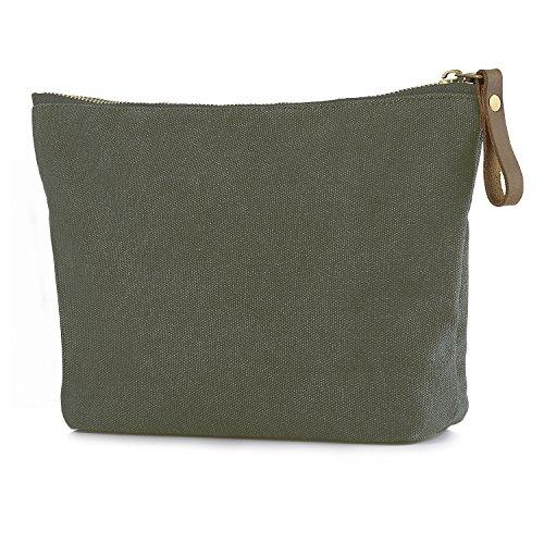 SMRITI Canvas Large Makeup Bag Pouch Purse Handbag Organizer with Zipper (Army Green) (Olive Makeup Dark)