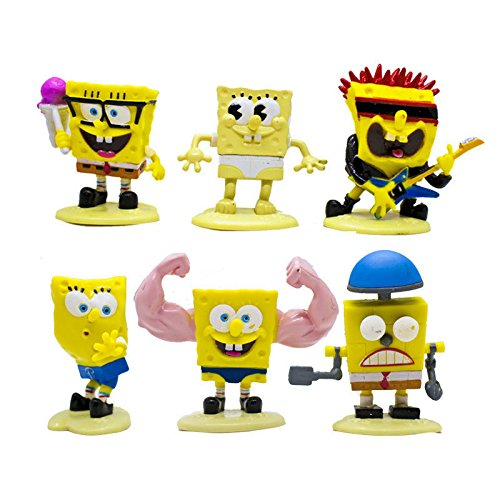 New 6Pcs Set Kids Cute Toys Spongebob SquarePants PVC Figure Gifts Mini Hobbies