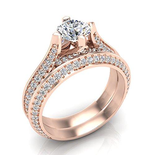 1.55 ct tw Knife Edge Pavé Set Diamond Wedding Ring with Band 18K Rose Gold (Ring Size (Pave Knife Edge)
