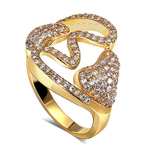 PSRINGS Double heart Ring gold plated with cubic zircon Rings designer rings South-west style jewelry 9.0