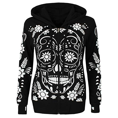 Londony♥‿♥ Clearance,Women's Comfy Skull Print Zipper Jacket Long Sleeve Cowl Neck Pullover Hooded Sweatshirts ()