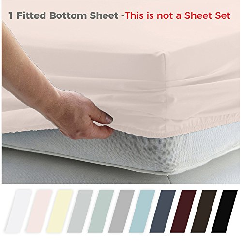 California Design Den 400 Thread Count 100% Cotton 1 Fitted Sheet, Long - Staple Combed Pure Natural Cotton Sheet, Soft & Silky Sateen Weave by (Queen, Blush)