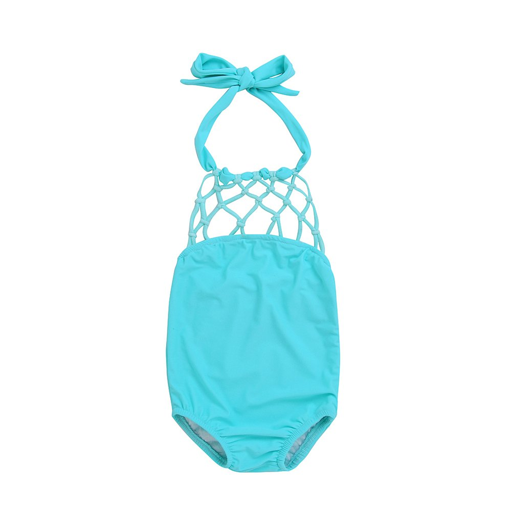 Toddler Baby Kids Solid Cutout Halter Bikini Swimsuit One Piece for Girls 1-6 Years