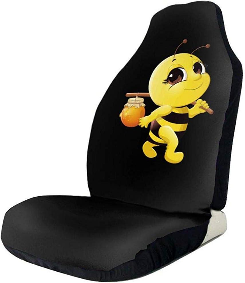 Sitzbezüge Cartoon Honey Bee Lustige Grafik Schwarz 2 Stück Autositzbezüge Vordersitzbezüge Schutz Sitzbezüge Für Auto Van Lkw Suv Auto