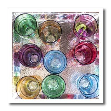 3dRose Danita Delimont - Decor - Morocco, Marrakech. Colorful Tea Glasses on Tray. - 10x10 Iron on Heat Transfer for White Material (ht_310452_3)