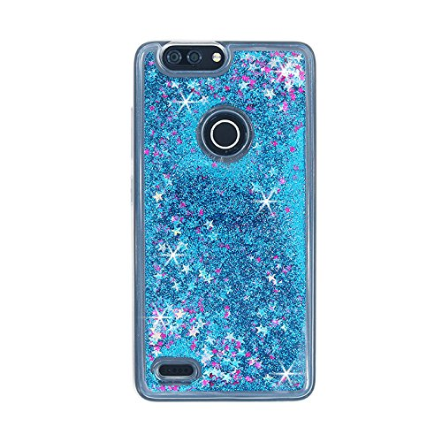(ZTE Blade Z Max Case, ZTE Sequoia Case, AUSURE Liquid Flowing Floating Ultra Luxury Twinkle Glitter Bling Star Premium Soft TPU Bumper Shockproof Case Cover for ZTE ZMax Blade Pro 2 / Z982 (Blue))