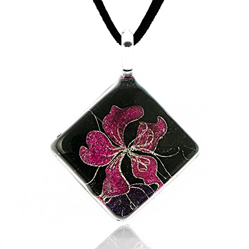 (Chuvora Hand Blown Venetian Murano Glass Pink Hibiscus Orchid Flower Pendant Necklace, 17-19)