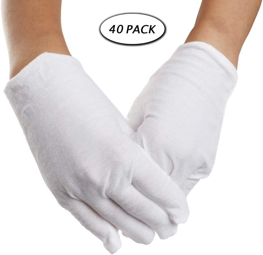 20 Pairs White Cotton Gloves W Wowot L Size Soft Gloves for Both Men and Women