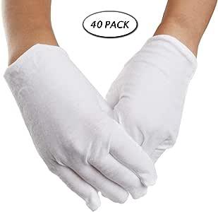 20 pares de guantes blancos de algodón, talla L, guantes de trabajo para hombres y mujeres, guantes de trabajo para inspección de joyas de monedas.: Amazon.es: Bricolaje y herramientas