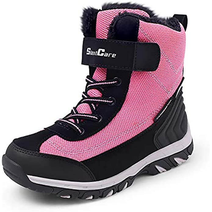 SILENTCARE Boy's Girl's Snow Boots, Winter Waterproof Slip Resistant Cold Weather Kids Shoes Boots (Toddler/Little Kids/Big Kids)