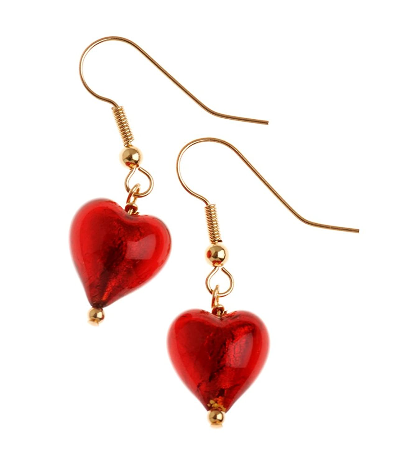 Bellissi Murano Venezia Genuine Murano Glass Red Heart Drop Earrings Of  36cm: Amazon: Jewellery