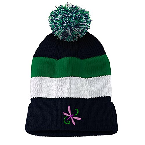 Dragon Striped Beanie - Dragon Fly Style 4 Embroidered Unisex Adult Acrylic Vintage Striped Removable Pom Pom Beanie Winter Hat - Navy/Green/White Stripes, One Size