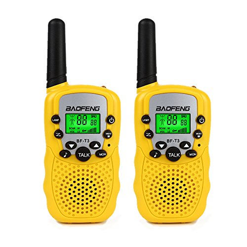 BaoFeng T-3 Kids Walkie Talkie Two Way Radio (1 Pair), Yellow + SainSonic  Velvet Bag