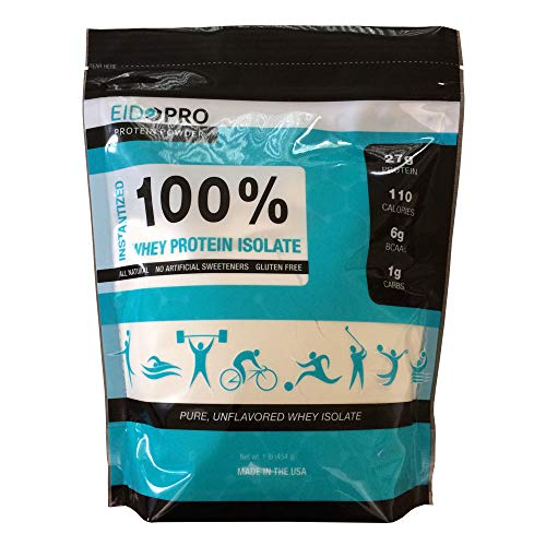 EIDOPRO Unflavored Protein Powder, 100% Pure Whey *Isolate* (Superior to Concentrate), Unsweetened, Low Carb, 27g Protein Per Serving - 1 lb Bag