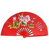 High - grade bamboo tai chi martial arts fan red fan bone red peony tai chi fan