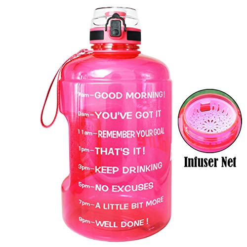 QuiFit Gallon Water Bottle with Strainer & Time Marker,128/73/43 oz,Wide Mouth Fast Flow,Large BPA Free Infuser Water Bottle,for Fitness and Outdoor Enthusiasts (Hot Pink, 1 Gallon)