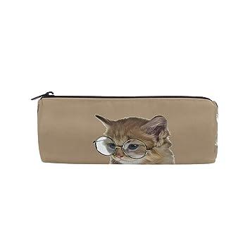 Bonipe - Estuche de gato con gafas, estuche escolar, estuche de papelería con cremallera, bolsa de maquillaje: Amazon.es: Oficina y papelería