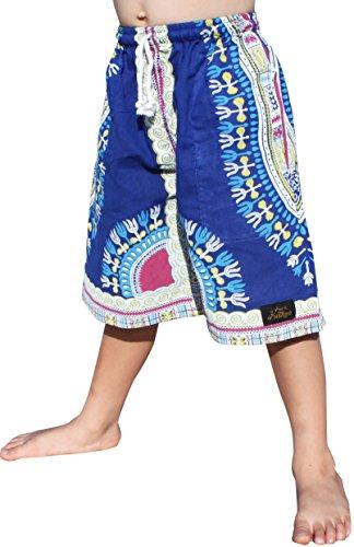 RaanPahMuang Branded Childs Dashiki Pants Pocket Baggy Thin Summer Cotton Shorts, 3-6 Years, Egyptian Blue