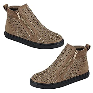 Best Kate Hightop Taupe Faux Leather Flat No Wedge Round Toe Rubber Sole Zipper Trendy Slipon Bootie Shoe Sneaker Easter Basket Stuffer Clearance Sale Gift Idea For Women Teenage Girl (Size 9, Taupe)