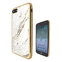 c00804 - Cool Bloggers Favourite White Marble Style Effect Art Design iphone SE / iphone 5 5S Fashion Trend CASE Gold & Clear Gel Rubber Silicone All Edges Protection Case Cover