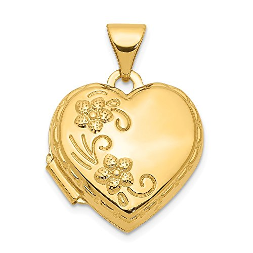 - 14k Yellow Gold Reversible Heart Photo Pendant Charm Locket Chain Necklace That Holds Pictures Fine Jewelry Gifts For Women For Her