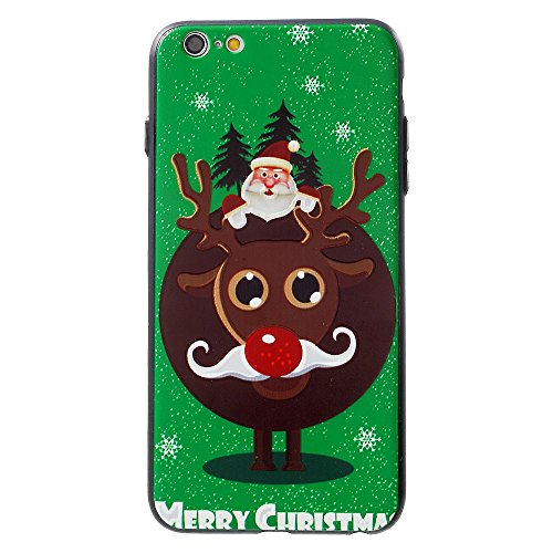 XINCUCO Christmas Embossed PC + TPU Back Tasche Hüllen Schutzhülle - Case für iPhone 6s Plus/6 Plus - Santa Claus on Reindeer