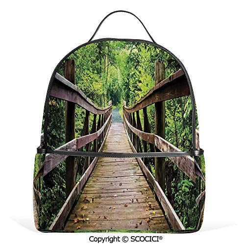 3D Printed Pattern Backpack Rustic Wooden Walking Bridge Limberlost Trail in Shenandoah National Park Virginia Decorative,Adorable Funny Personalized Graphics