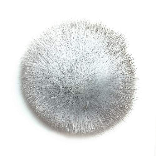 Genuine Fur Pom Pom Puff Ball 4 inch - Fluffy and Cute Fur Pompoms DIY Fox Fur Balls with Press Button Decoration of Women Bags and Hat Coat ()