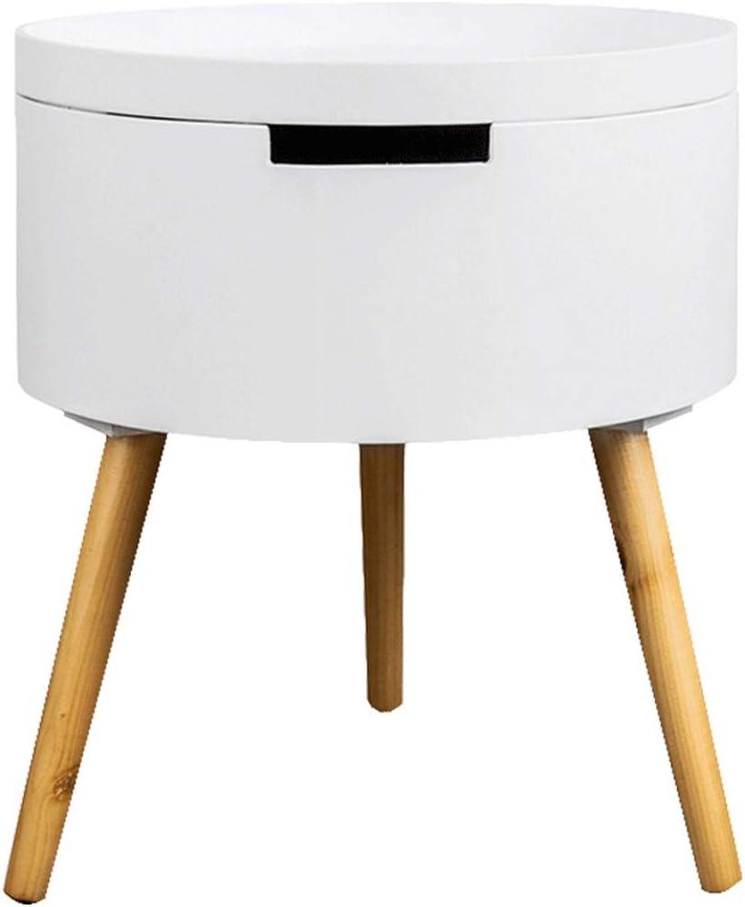 2020 Nieuw Caim Ronde salontafel/houten bijzettafel, salontafel met opbergbak, afneembare reistafel, geschikt voor woonkamer, slaapkamer, kantoor Kleur: wit 2dbSjgT