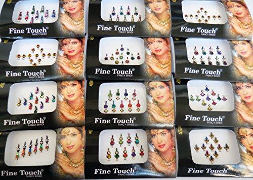 - 6 Packs- 42 Bindis Mix n Match Face Jewels Bollywood Stickers Indian Bindi
