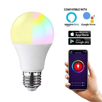 SQUAREDO Bombilla de luz LED Inteligente WiFi, Bombilla de luz RGB Regulable de 10W (