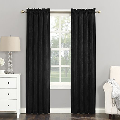 Glamour Curtain Panel - Sun Zero Cassidy Textured Velvet Blackout Rod Pocket Curtain Panel, 52
