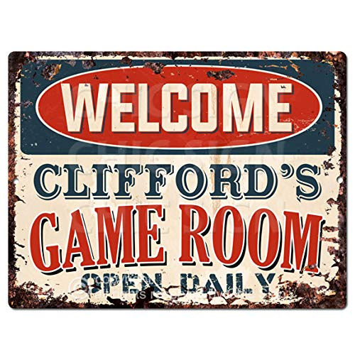 Welcome Clifford'S Game Room Open Daily Tin Chic Sign Vintage Retro Rustic 9