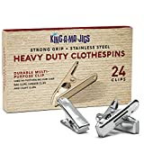 24 Pack - Long Lasting, Stainless Steel Clothespins - Strong Grip - Weather-Resistant, Multipurpose Clip - Use As Clothesline Clip, Chip Bag Clips, Hanger Clips and Craft Clips
