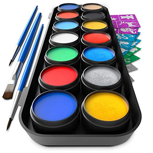 Vibrant Face and Body Paint Kit - Magical Set of 14 Colors w / 3 Brushes Includes 10 Stunning Colors and 4 Gorgeous Metallics for All your Face and Body Art - Non Toxic & FDA Compliant w / 60 Artistic