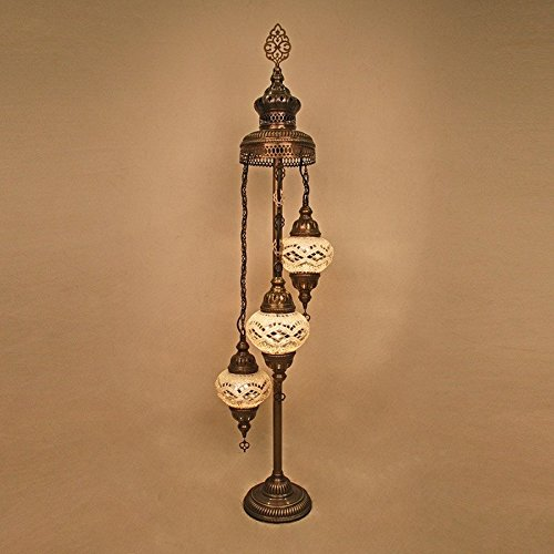 Woodymood Numbing Handmade Turkish Moroccan Mosaic Glass Floor Lamp with Brass&Glass 3 Ball