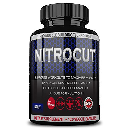 Nitrocut Pre Workout Supplement -120 Capsules - Best Nitric Oxide Supplement - L-arginine - L-citrulline - Premium Ingredients - Increase Blood Flow - Boost Muscle Growth