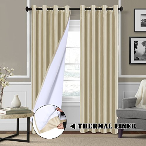 - H.VERSAILTEX Blackout Lined Curtains with Natural Liner Backing (2 Panels) Thermal Insulated Faux Silk Nickel Grommet Energy Saving Long Curtains for Patio Sliding Glass Door, 52W x 84L, Solid Beige