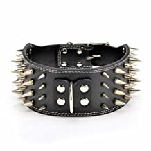 Pet Kingdom 20-26'' Genuine Leather 4 Rows Spiked Dog Pet Collars (Black, X-Large)