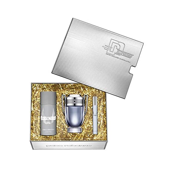 Paco Rabanne Invictus for Men Eau De Toilette 100ml, Deodorant Spray 150ml and Travel Spray 10ml Giftset