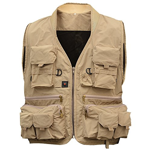Tsptool Fly Fishing Vest Multi-pocket Waistcoat Fishing Clothes Breathable Mesh Fishing Jacket for Fishing Hunting Outdoor Activities Khaki XL