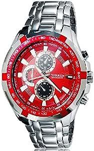 ساعة كارن، 8023، رجالية، حزام من س.ستيل، ميناء و قرص لون احمر