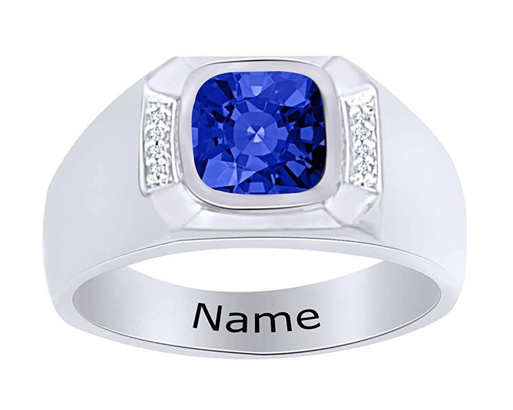 Wishrocks Simulated Birthstone Personalised Engravable Mens Band Ring 14K White Gold Over Sterling Silver