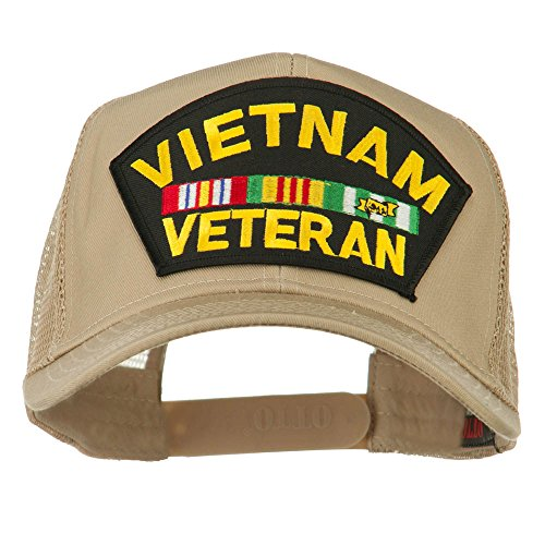 (e4Hats.com Vietnam Veteran Military Patched Mesh Back Cap - Khaki OSFM)