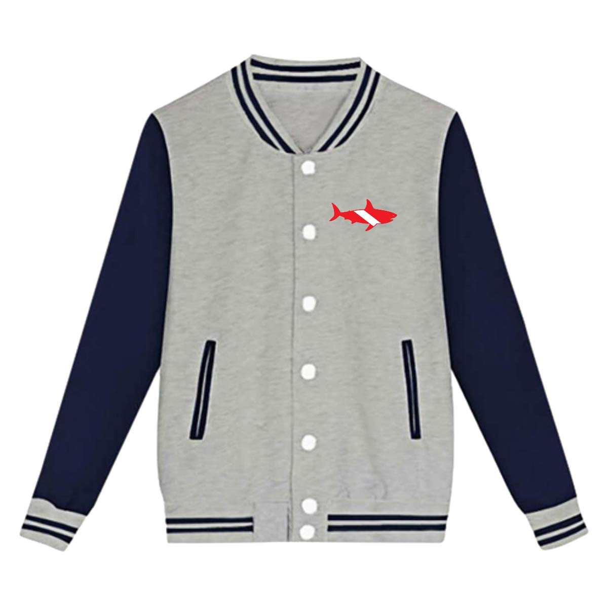 Tina TN Great White Shark Diving Teens Boys Girl Varsity Baseball Jacket Long Sleeve Sport Baseball Uniform Jacket Coat Sweater Black