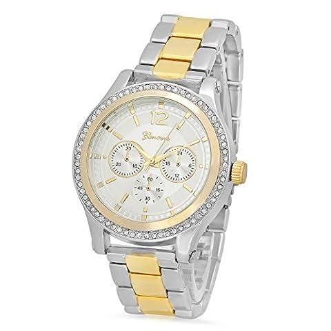 Silver Dial Rhodium Plated Geneva CZ Watch & Two-Tone Gold/Rhodium Band (Geneva Watches Men Gold)